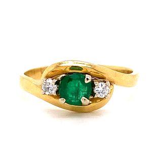 1920Õ 18K Diamond Emerald Ring