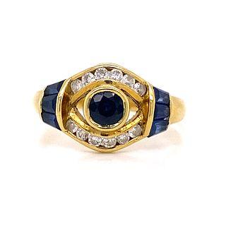 18K Sapphire Diamond RingÊ