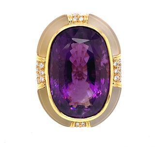 ADLER Amethyst Cristal Rock Diamond Ring