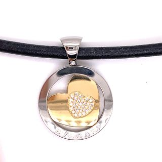 Stainless Steal Gold Diamond BVLGARI Medallion NecklaceÊ