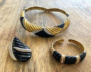 18K Onyx Diamond Set: Necklace, Bracelet, Broach
