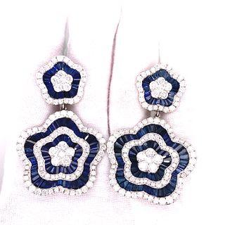 18K Sapphire Diamond Flower Drop Earrings
