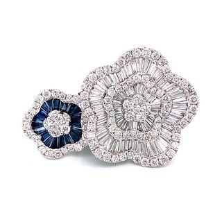 18K Sapphire Diamond Motif Ring