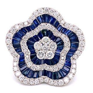 18K Sapphire Diamond Flower Ring