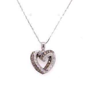 14K Diamond Heart Pendant NecklaceÊ