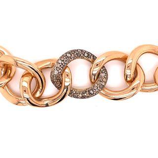 18K Link Chain Diamond Bracelet