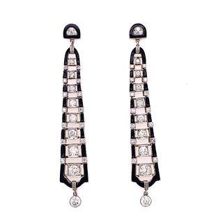Platinum Enamel Diamond Drop DanglingÊ Earrings