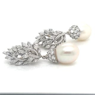 Platinum South Sea Pearl & Diamond Earrings