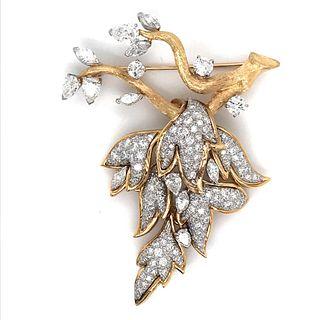 18K Platinum Diamond Broach