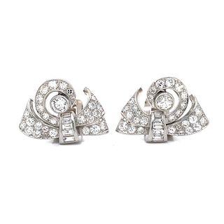 Platinum Diamond Art Deco Earrings