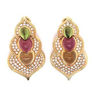 18K Diamond & Gemstone EarringsÊ
