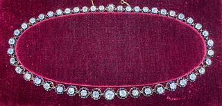 Victorian 14K & Silver Diamond Topped Necklace