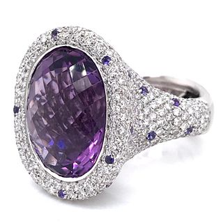 18K Amethyst & Diamond Palmiero Ring