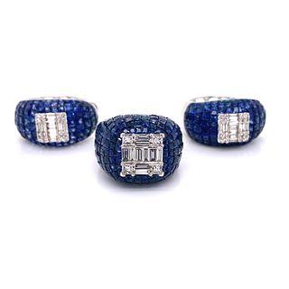 18K Diamond Sapphire Set: Earrings & Ring