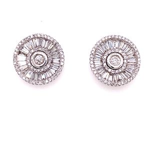 18K Diamond Round Stud Earrings