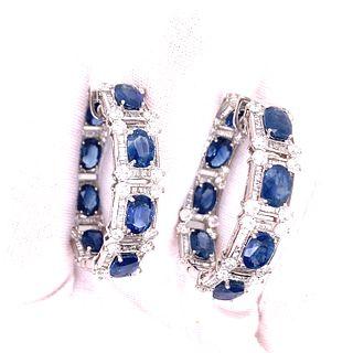 18K Diamond Sapphire Hoop Earrings