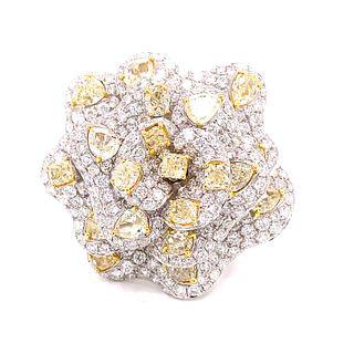 SAVALETTI 18K White & Fancy Yellow Diamond Ring