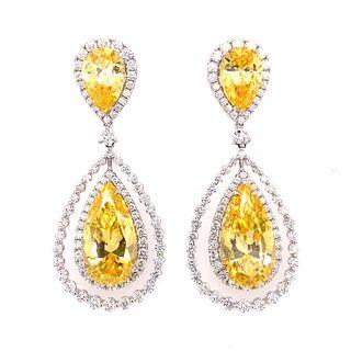 18K Diamond Yellow Sapphire EarringsÊ