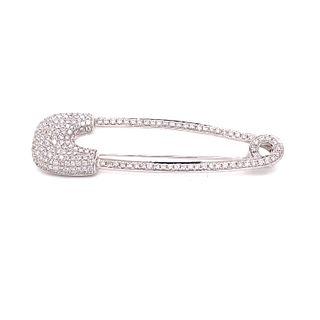 18K Diamond Paper Clip Broach
