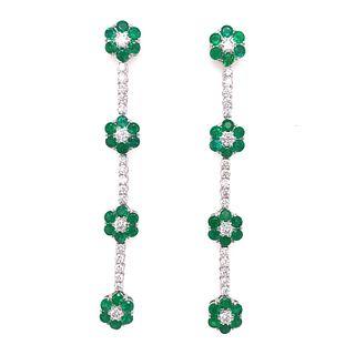 18K Diamond Emerald Flower Hanging EarringsÊ