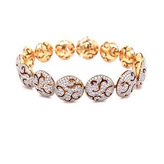 18K Pink & White Diamond Bracelet