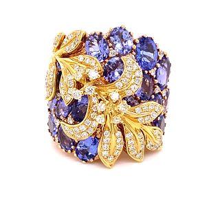 18K Tanzanite Diamond Ring