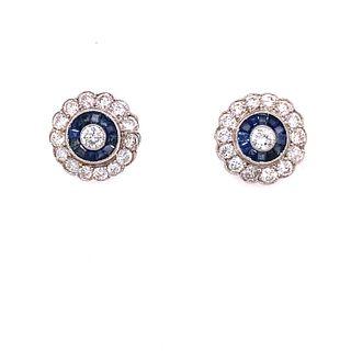 Platinum Diamond Sapphire Stud EarringsÊ