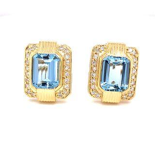 18K Aquamarine Diamond Stud EarringsÊ