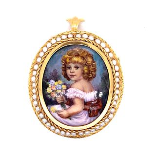 Victorian 18K Picture Of a Girl Pearl Broach & Pendant