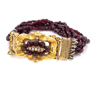 15K Victorian Garnet Bracelet