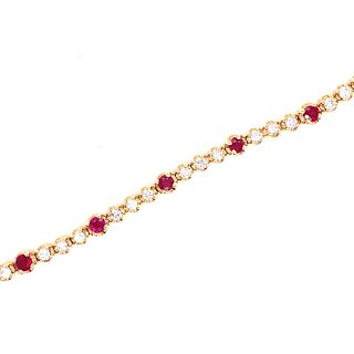 14K Diamond Ruby Tennis Bracelet