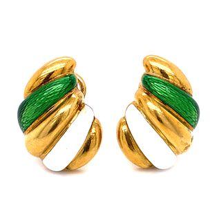 18k White Green Enamel Ring