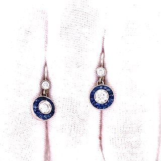 Platinum 18k Sapphire Diamond Target Earrings