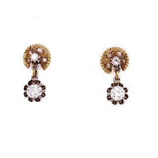 18k Platinum Diamond Drop EarringÊ