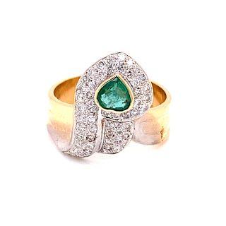 14k Diamond Emerald Snake RingÊ