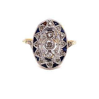 1920' 18k Platinum Diamond Sapphire RingÊ