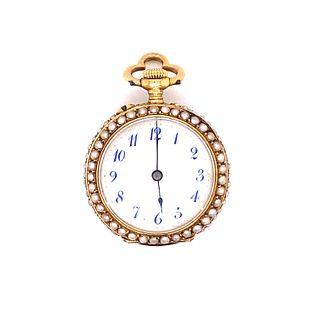 18k Pearl Ladies Pocket WatchÊ