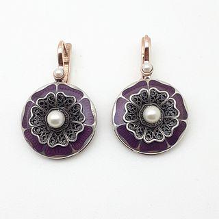 14k and Silver Russian Earrings