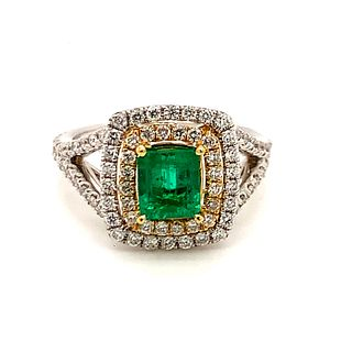 18K Emerald Diamond Ring
