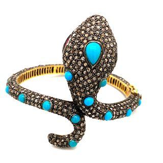 Silver & 14K Diamond Turquoise SnakeÊ