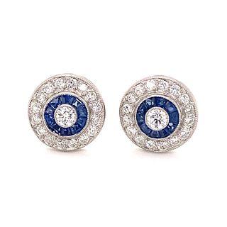 Platinum Diamond Sapphire Target EarringÊ