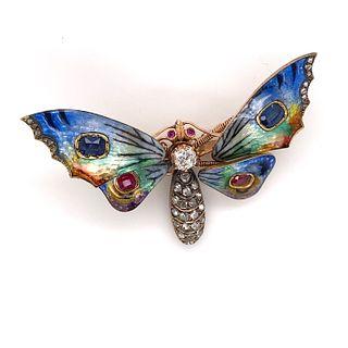 Victorian Tremblant 18k Sapphire Diamond Rubies Butterfly BroochÊ