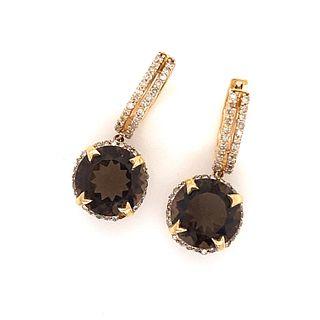 14K Diamond Quartz EarringÊ