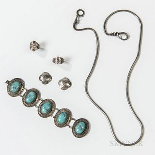 Six Pieces of Navajo Silver and Turquoise Jewelry, a snake necklace, the head with a turquoise and two gem settings; a silver bracelet