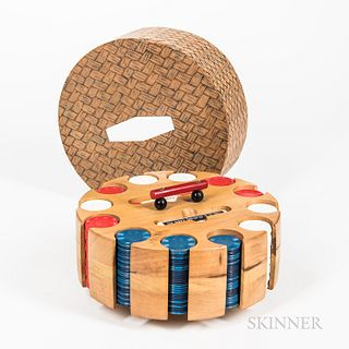 Poker Chip Set, housed in a laminated wooden holder with plastic handle and paper-clad cardboard cover.