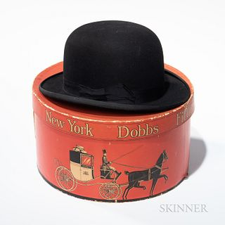 Dobbs New York Hat Box and Bowler Hat, very lightly worn, hat size 7 1/2.