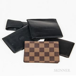 Group of Gentlemen's Designer Leather Goods, including wallets and billfolds, makers include Hermes, Louis Vuitton, and Cartier.