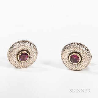 Caroline Ballou 18kt Gold, Sterling Silver, and Rubellite Garnet Cuff Links, marked.