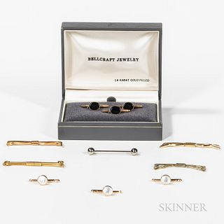 Boxed Stud Set, Set of Three 14kt Gold Studs, and Group of Tie Bars, three boxed gold-filled studs, three 14kt gold and mother-of-pearl