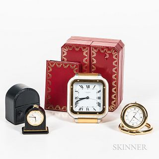 Cartier, Van Cleef, and Bulgari Desk Clocks, two-tone Cartier wristwatch-form clock with box and papers, Bulgari miniature black lacque